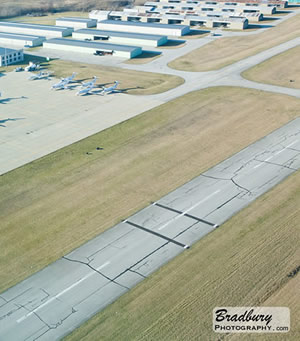 Aerial shot of Greenwood Municipal Airport